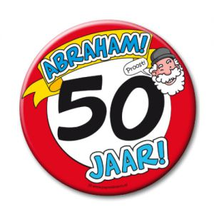 Button XL 50 jaar Abraham