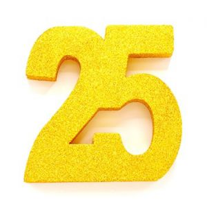 Tafeldecoratie Cijfer 25 glitter Goud