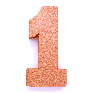 Tafeldecoratie Cijfer 1 glitter Roze Goud