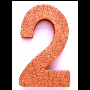 Tafeldecoratie Cijfer 2 glitter Roze Goud