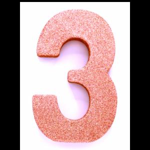 Tafeldecoratie Cijfer 3 glitter Roze Goud