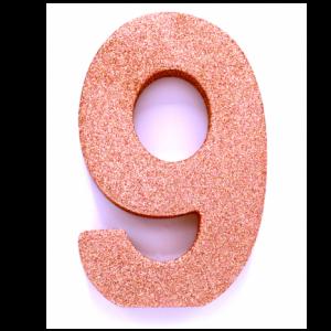 Tafeldecoratie Cijfer 9 glitter Roze Goud