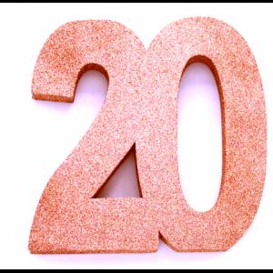 Tafeldecoratie Cijfer 18 glitter Roze Goud