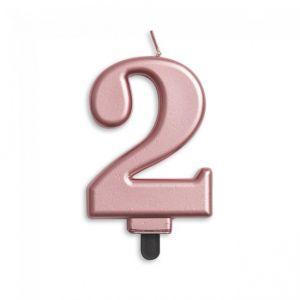 Verjaardags Kaarsje Metallic Roze Goud Cijfer 2
