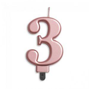 Verjaardags Kaarsje Metallic Roze Goud Cijfer 3