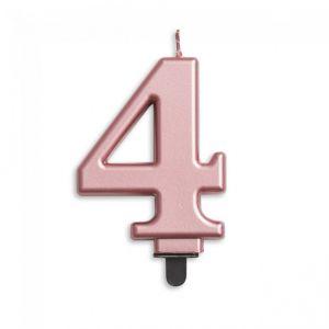 Verjaardags Kaarsje Metallic Roze Goud Cijfer 4