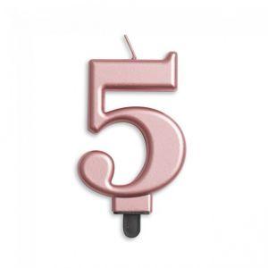 Verjaardags Kaarsje Metallic Roze Goud Cijfer 5