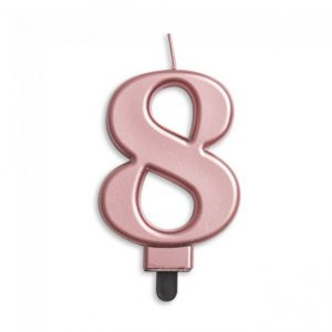 Verjaardags Kaarsje Metallic Roze Goud Cijfer 7