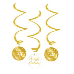Swirl Hangdecoratie roze goud/zwart 16 jaar