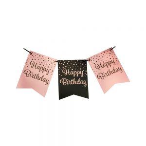 Vlaggenlijn Roze Goud/Zwart Happy Birthday