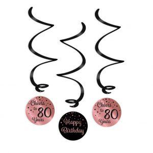 Swirl Hangdecoratie roze goud/zwart 80 jaar