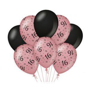 Decoratie ballonnen Roze Goud/Zwart 16 jaar