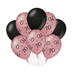 Decoratie ballonnen Roze Goud/Zwart 70 jaar