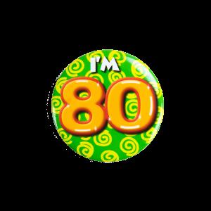 Button klein 80 jaar