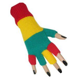 Vingerloze handschoen geel/groen/rood