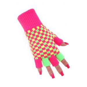 Vingerloze handschoen nuon geel/roze/groen