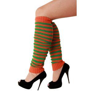 Beenwarmers oranje/groen smalle streep