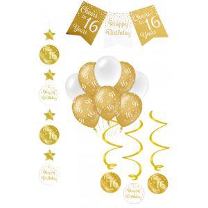 Verjaardag Feestpakket Goud/Wit 4-delig 16 jaar