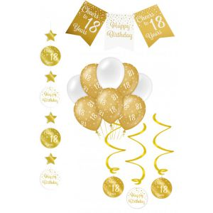 Verjaardag Feestpakket Goud/Wit 4-delig 18 jaar