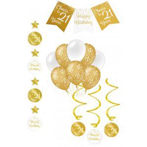 Verjaardag Feestpakket Goud/Wit 4-delig 21 jaar