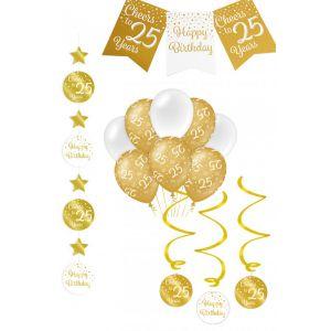 Verjaardag Feestpakket Goud/Wit 4-delig25 jaar