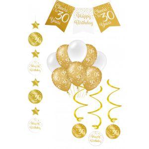 Verjaardag Feestpakket Goud/Wit 4-delig 30 jaar