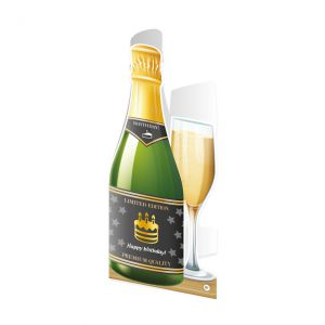 Champagne Wenskaart Happy Birthday