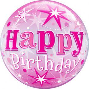 Gevulde Folieballon bubbles Happy Birthday roze