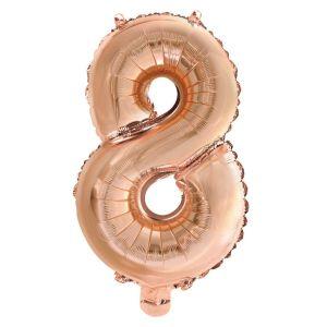 Folieballon Rose Gold Cijfer 8, 40 Cm