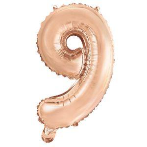 Folieballon Rose Gold Cijfer 9, 40 Cm