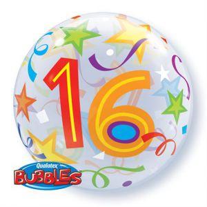 Gevulde Folieballon bubbles 16 jaar