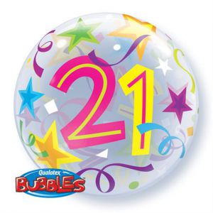 Folieballon bubbles 21 jaar