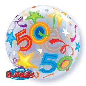 Gevulde Folieballon bubbles 50 jaar
