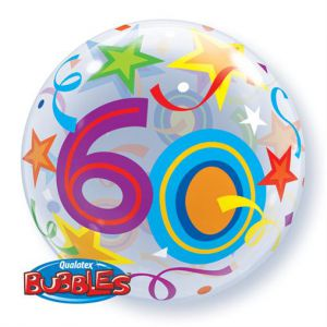 Gevulde Folieballon bubbles 60 jaar