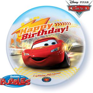 Bubbles Ballon Happy Birthday Cars Lightning