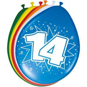 Lucht Latex Ballonnen 14 Jaar (8 stuks)