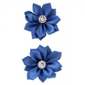 Satijnen bloemen met steentje Blauw 12 st. 6 cm