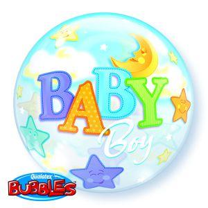 Gevulde Folieballon bubbles Baby Boy