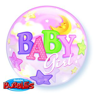 Gevulde Folieballon bubbles Baby Girl
