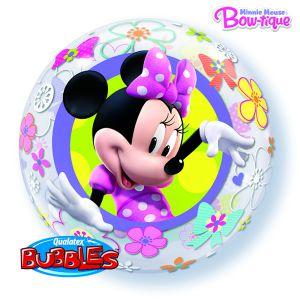 Gevulde Folieballon bubbles Minni Mouse