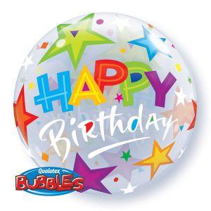 Gevulde Folieballon bubbles Happy Birthday sterren