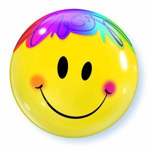 Gevulde Folieballon bubbles Smiley