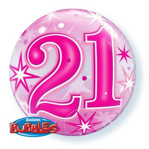 Folieballon bubbles 21 jaar roze