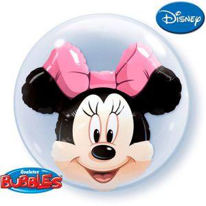 Gevulde Folieballon double bubbles Minnie Mouse