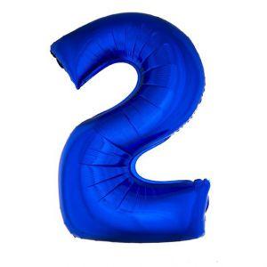 Folieballon Blauw Cijfer 2, 102 Cm