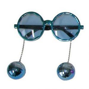 Bril met disco ballen blauw