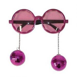 Bril met disco ballen roze