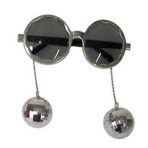 Bril met disco ballen zilver
