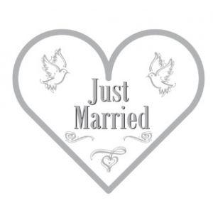 Servetten Just Married hartvorm
