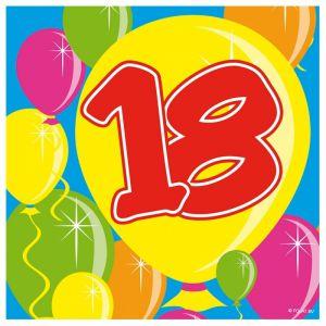 Servetten Balloons 18 jaar (20 stuks)